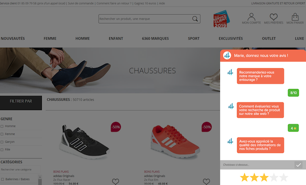chatsurvey satisfaction client sur site myfeelback