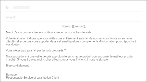 email infos satisfaction client